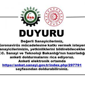 T.C. Sanayi ve Teknoloji Bakanlığı'nın hazırladığı anketi doldurmanızı rica ediyoruz.
