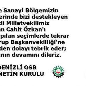 Sayın Cahit Özkan'ı TBMM'de yapılan seçimlerde tekrar Ak Parti Grup Başkanvekilliği'ne seçilmesinden dolayı tebrik eder; başarılarının devamını dileriz.